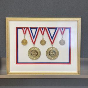 Medailles verdiept ingelijst