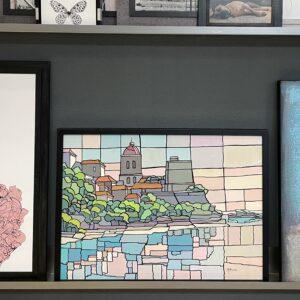 werk op papier met Art-glass